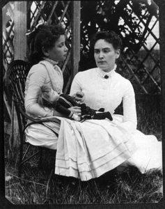 Helen Keller with Annie Sullivan, July 1888