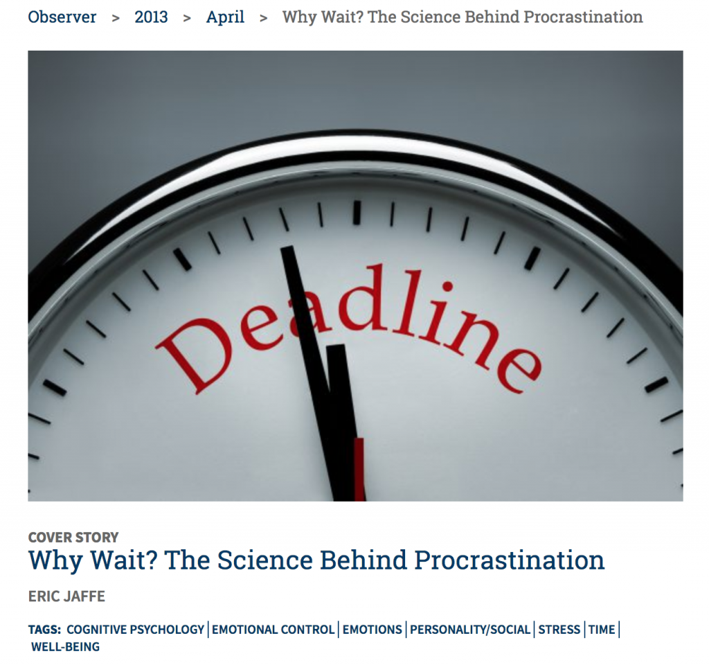 Link to an article that explains the science behind procrastination